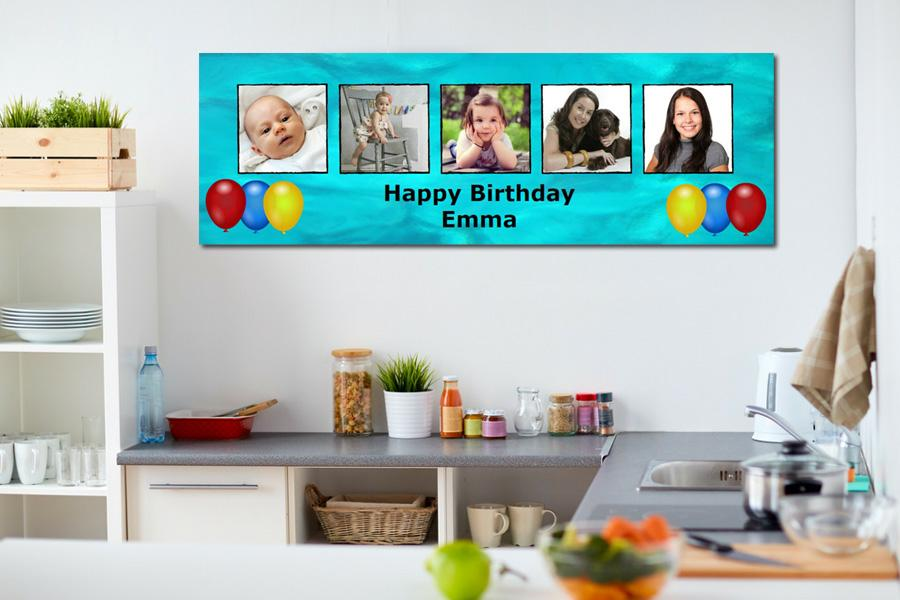 multi photo party and birthday banner