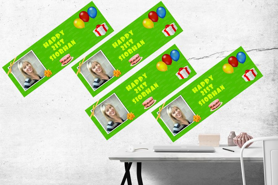 set of 4 mini banners