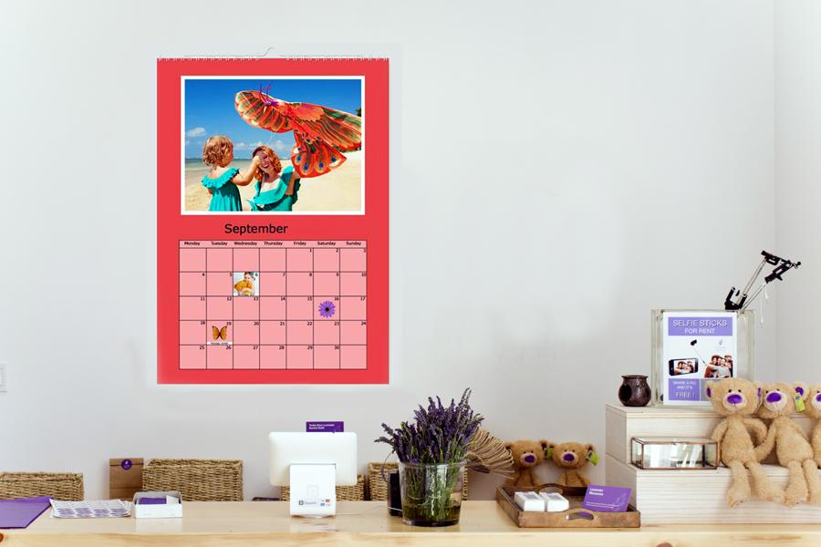 multi page wall calendar with photos and text