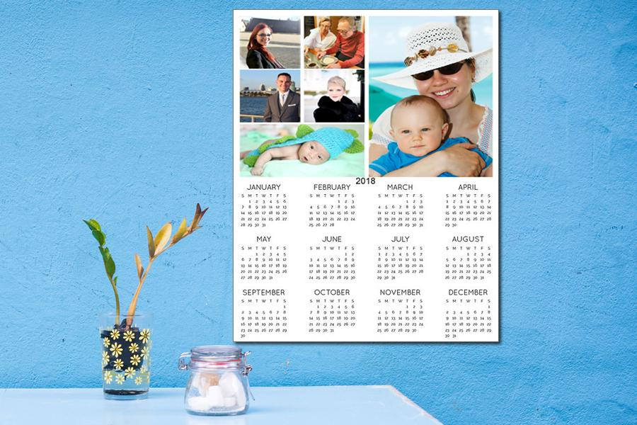 photo collage on a personalised calendar