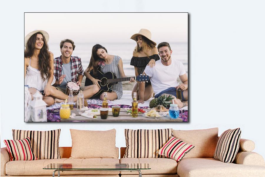 big canvas photo print of friends on the beach