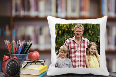soft cushion with a photo and writing