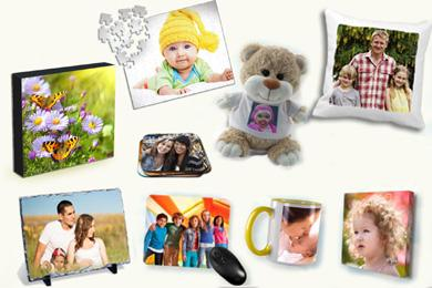 selection of personalised photo gifts