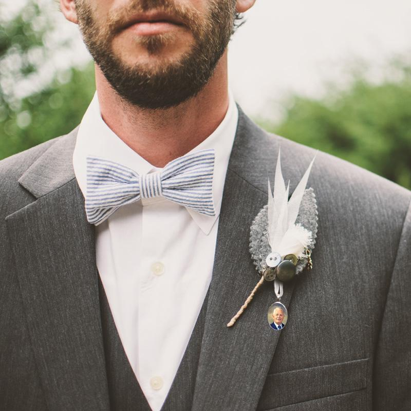 a groom's remembrance wedding charm pin