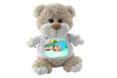 cuddly teddy with photo on his t shirt
