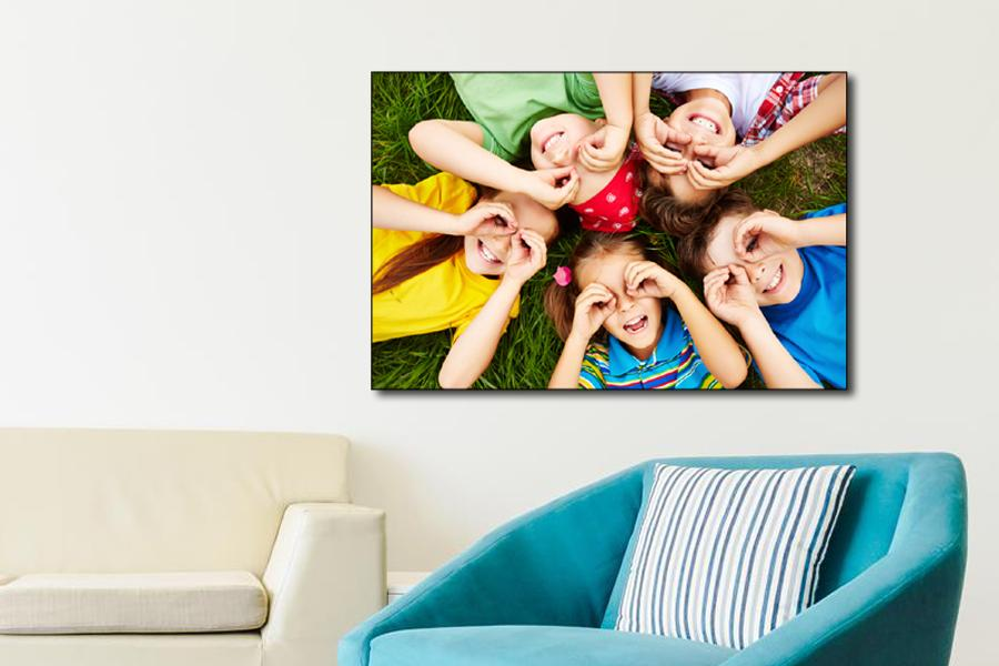 large photo block with fun photo of children