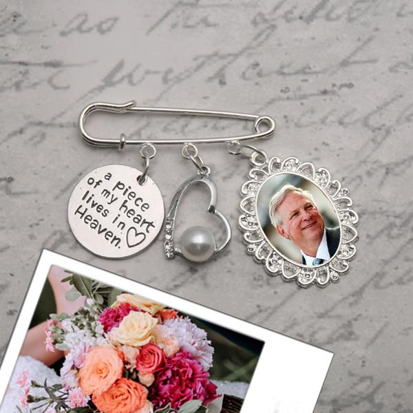 3 . A Piece Of My Heart Wedding Bouquet Memory Triple Charm With Pearl Heart
