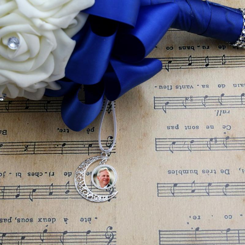 8. Crescent Moon Bridal Bouquet Photo Charm