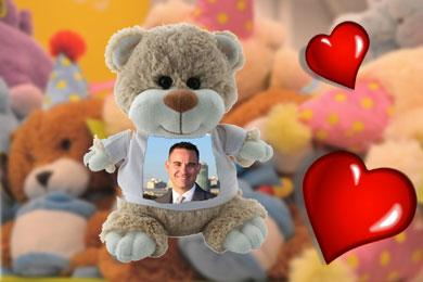 cuddly teddy with photo for valentine's day