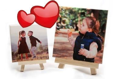 photo on a tile with wooden easel